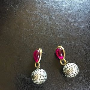 Jewelry - Bright Pink and Gold Metal Fashion Earrings